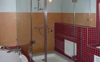 Стеклянные двери и перегородки для ванной и душа: разновидности, устройство, комплектующие