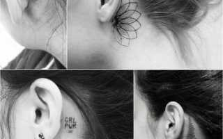 Татуировки за ухом для девушек: фото тату и описания