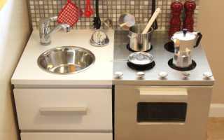 Как сделать детскую кухню своими руками из коробок, старой мебели или дерева